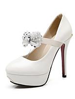Для женщин Обувь Дерматин Осень Удобная обувь Оригинальная обувь Обувь на каблуках На шпильке Круглый носок Цветы Назначение Свадьба Для