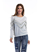 Women's Daily Going out Casual Street chic Spring Fall T-shirt,Solid Round Neck Long Sleeves Cotton Thin