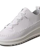 Damen Schuhe PU Herbst Komfort Sneakers Flacher Absatz Runde Zehe Schnürsenkel Für Normal Weiß Schwarz
