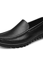Hombre Zapatos Cuero Primavera Verano Confort Zapatos de taco bajo y Slip-On Para Casual Negro Marrón