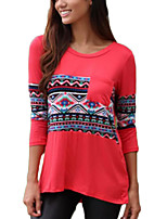 Women's Daily Holiday Casual Street chic Fall T-shirt,Print Round Neck 3/4 Length Sleeves Cotton
