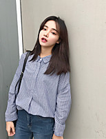 Women's Daily Tunics Shirt,Striped Stand Long Sleeves Cotton