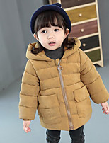 Girls' Solid Down & Cotton Padded Winter Long Sleeve