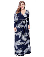 Women's Party Plus Size Going out Casual/Daily Vintage Boho Sophisticated Loose Sheath Swing Dress,Print V Neck Maxi 3/4 Length Sleeves