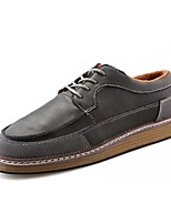 Men's Shoes PU Spring Fall Comfort Oxfords Lace-up For Casual Brown Gray Black