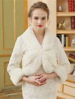 Faux Fur Wedding Party/ Evening Women's Wrap With Pattern / Print Fur Shrugs