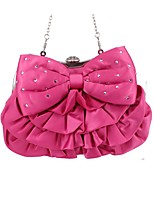 Women Bags All Seasons Silk Evening Bag Bow(s) for Wedding Event/Party Fuchsia
