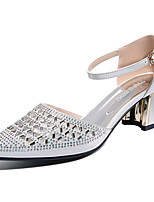 Women's Shoes Glitter Spring Summer Gladiator Heels Chunky Heel Rhinestone For Casual Dress White Gold