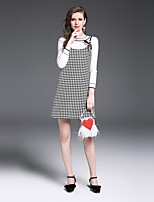 YIYEXINXIANG Women's Casual/Daily Work Street chic Fall T-shirt Skirt Suits,Others Round Neck Long Sleeve