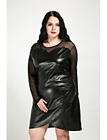 Cute Ann Women's Plus Size Casual/Daily Sexy Vintage Cute Shift Dress,Solid Round Neck Knee-length Long Sleeves PU All Seasons Fall Mid Rise