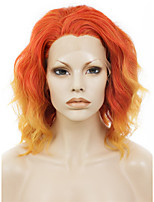 Men Women Synthetic Wig Lace Front Short Wavy Orange Ombre Hair Natural Hairline Drag Wig Party Wig Halloween Wig Cosplay Wig Natural Wigs