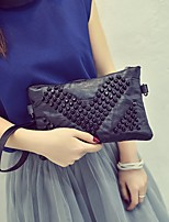 Women Bags Spring PU Clutch Zipper for Outdoor Black