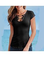 T-shirt Da donna Per uscire Casual Sensuale Estate,Tinta unita A V Acrilico Elastene Manica corta Medio spessore