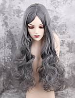 Women Synthetic Wig Capless Long Very Long Wavy Grey Middle Part Natural Wigs Costume Wig