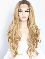 Women Synthetic Wig Lace Front Medium Length Long Curly Wavy Natural Wave Loose Wave Golden Blonde Ombre Hair Dark Roots Natural Hairline