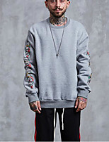 Men's Daily Sweatshirt Letter Round Neck Micro-elastic Polyester Long Sleeve Fall