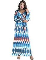 Women's Plus Size Casual/Daily Street chic Loose Dress,Print V Neck Maxi Long Sleeves Cotton Polyester Fall Mid Rise Stretchy Thin