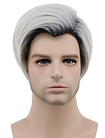 Men Synthetic Wig Capless Short Straight Grey Side Part Ombre Hair Dark Roots Party Wig Celebrity Wig Halloween Wig Cosplay Wig Costume