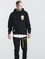 Men's Daily Casual Hoodie Solid Print Letter Hooded Micro-elastic Cotton Long Sleeve Fall