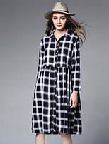 JIANRUYI Women's Casual/Daily Punk & Gothic Shirt Dress,Plaid Shirt Collar Midi Long Sleeves Cotton Fall High Rise Inelastic Medium