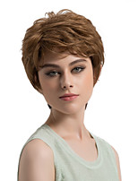 Women Synthetic Wig Capless Short Straight Light Brown Side Part Layered Haircut Natural Wigs Costume Wig