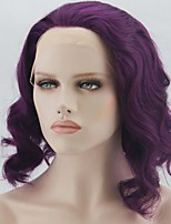 Women Synthetic Wig Lace Front Short Medium Length Curly Wavy Natural Wave Deep Wave Water Wave Purple Lolita Wig Party Wig Celebrity Wig