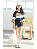 Tee-shirt Femme,Couleur Pleine Sortie simple Manches Longues Col en V Coton