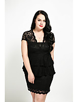 Cute Ann Women's Plus Size Casual/Daily Sexy Simple Sheath Dress,Solid Boat Neck Knee-length Short Sleeves Polyester All Seasons Fall High Rise
