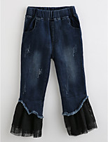 Girls' Solid Jeans-Cotton Fall