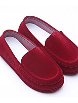 Girls' Shoes Flocking Spring Fall Comfort Loafers & Slip-Ons For Casual Black Red