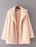 Women's Going out Casual/Daily Simple Active Street chic Spring Fall Fur Coat,Solid Notch Lapel Long Sleeve Regular Cotton Others