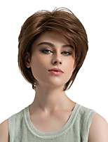 Women Synthetic Wig Capless Short Straight Brown Side Part African American Wig Layered Haircut Natural Wigs Costume Wig
