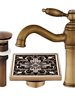 Centerset Widespread Ceramic Valve Single Handle One Hole Antique Copper , Bathroom Sink Faucet