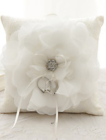 Ribbon Rhinestone Flower(s) Bow Satin Silk Ring Pillows Wedding Ceremony