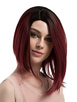 Women Synthetic Wig Capless Medium Length Straight Black/Red Ombre Hair Dark Roots Bob Haircut Natural Wigs Costume Wig