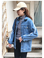 Women's Holiday Going out Simple Street chic Fall Denim Jacket,Solid Striped Stand Long Sleeve Regular Acrylic