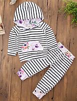 Ensembles Fille Rayure Couleur Pleine Coton Polyester Printemps Automne Manches longues Ensemble de Vêtements