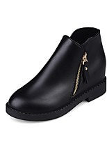Women's Shoes PU Fall Fashion Boots Boots Flat Heel Round Toe Zipper For Casual Black