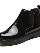 Femme Chaussures Polyuréthane Automne Confort Bottes Gros Talon Bout rond Bottes Mi-mollet Elastique Pour Décontracté Noir