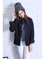 Women's Daily Simple Casual Fall Denim Jacket,Solid Shirt Collar Long Sleeve Regular Others