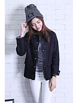 Feminino Jaqueta jeans Casual Simples Outono,Sólido Padrão Outros Colarinho de Camisa Manga Longa