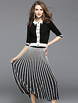 EWUS Women's Going out Casual/Daily Street chic Fall Sweater Skirt Suits,Striped Shirt Collar Half Sleeves Pleated Micro-elastic