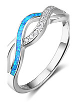 Women's Band Rings Opal Statement Jewelry Sterling Silver Waves Jewelry For Gift Christmas