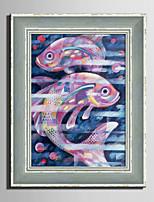 Animal Retro Abstrait Toile Encadrée Set de Cadres Art mural,PVC Matériel Avec Cadre For Décoration d'intérieur Cadre Art Salle de séjour