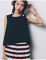 Women's Going out Simple Tank Top,Geometric Round Neck Sleeveless Cotton