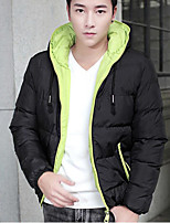 Men's Padded Coat,Simple Street chic Going out Casual/Daily Color Block-Polyester Polyester Long Sleeves