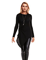 Women's Daily Going out Casual Sophisticated T-shirt,Solid Round Neck Long Sleeves Acrylic Polyester Medium