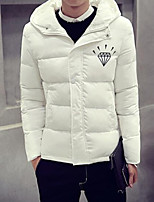 Men's Padded Coat,Simple Going out Casual/Daily Print-Others Cotton Long Sleeves