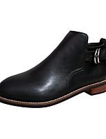 Mujer Zapatos PU Otoño Botas de Moda Botas Tacón Robusto Dedo redondo Cremallera Para Casual Negro