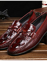 Masculino sapatos Pele Primavera Outono Solados com Luzes Mocassins e Slip-Ons Para Casual Preto Marron